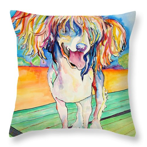 Chinese Crested Throw Pillow featuring the painting Mango Salsa by Pat Saunders-White