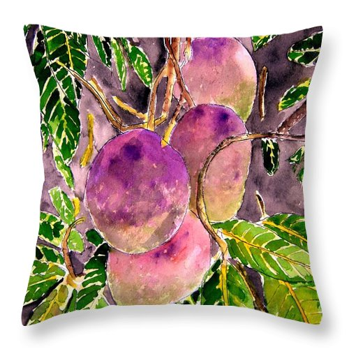 Mango Throw Pillow featuring the painting Mango Tree Fruit by Derek Mccrea