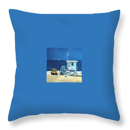 Modern Throw Pillow featuring the painting Manhattan Beach Lifeguard Station by Lance Headlee
