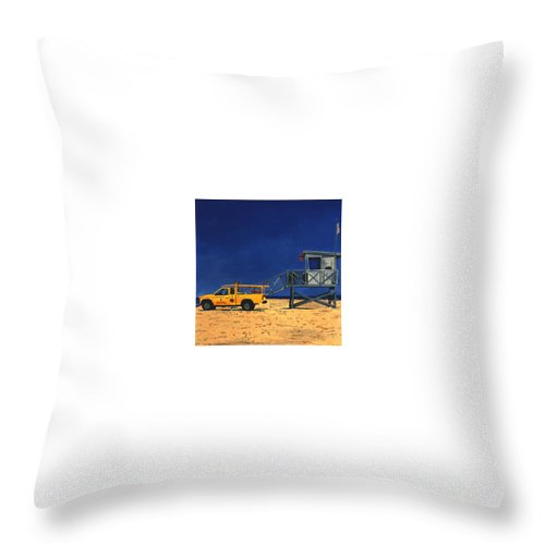 Modern Throw Pillow featuring the painting Manhattan Beach Lifeguard Station Side by Lance Headlee
