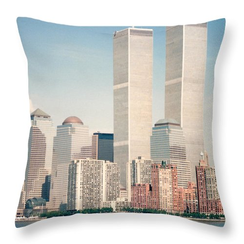 Manhattan Throw Pillow featuring the photograph Manhattan Circa 1990 by Lauri Novak