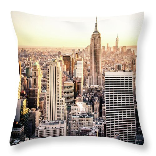 Nyc Throw Pillow featuring the photograph Manhattan by Michael Weber