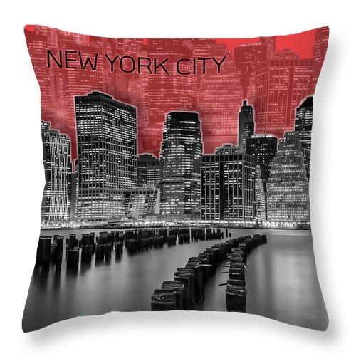 New York Throw Pillow featuring the digital art Manhattan Skyline - Graphic Art - Red by Melanie Viola