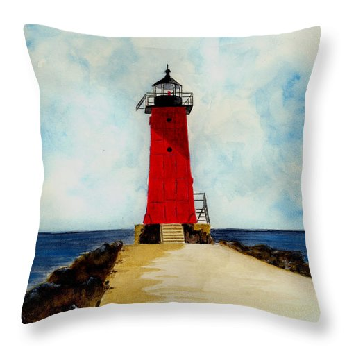 Lighthouse Throw Pillow featuring the painting Manistique Breakwater Lighthouse by Michael Vigliotti