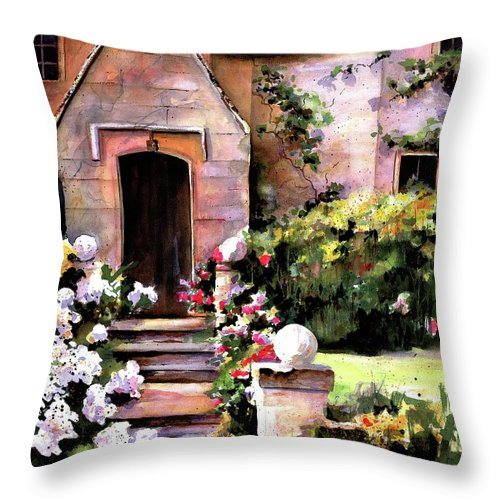 England Throw Pillow featuring the painting Manor House by Marti Green