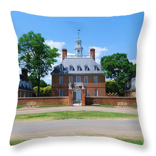Landscape Throw Pillow featuring the photograph Mansion by Eric Liller