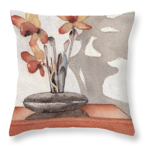 Flower Throw Pillow featuring the painting Mantel Flowers by Ken Powers