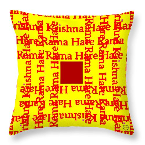 Square Throw Pillow featuring the digital art Mantra Block by Eikoni Images