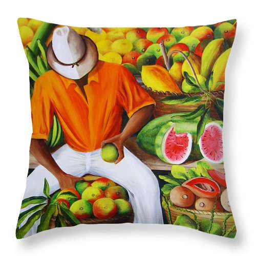 Caribbean Throw Pillow featuring the painting Manuel The Caribbean Fruit Vendor by Dominica Alcantara