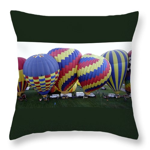 Hot Air Balloons Throw Pillow featuring the photograph Many Balloons by Mary Rogers