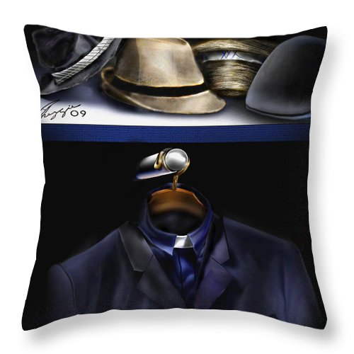 Still Life Painting Throw Pillow featuring the painting Many Hats One Collar by Reggie Duffie