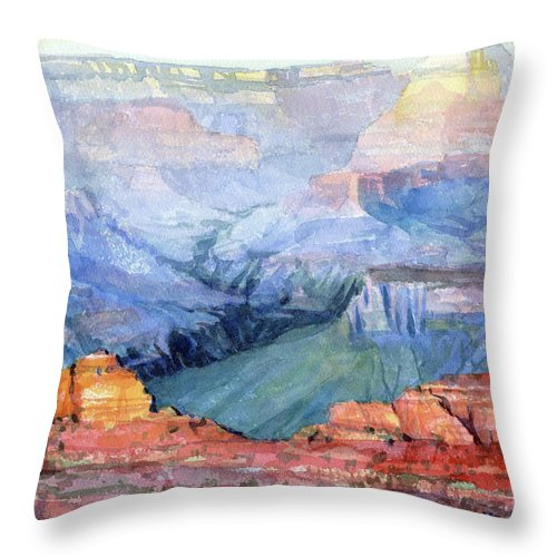 Grand Canyon Throw Pillow featuring the painting Many Hues by Steve Henderson