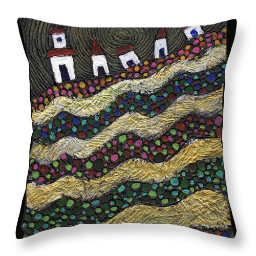 Folk Art Throw Pillow featuring the painting Many Paths Lead To The Top by Wayne Potrafka