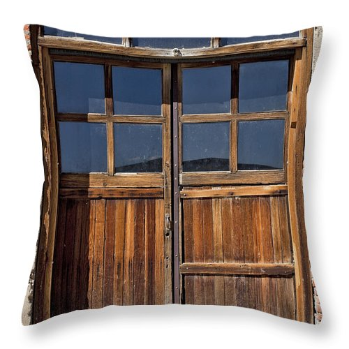 Old Wood Door Throw Pillow featuring the photograph Many Textures by Kelley King