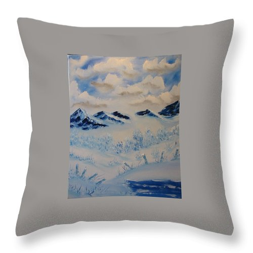 Blue Throw Pillow featuring the painting Many Valleys by Laurie Kidd