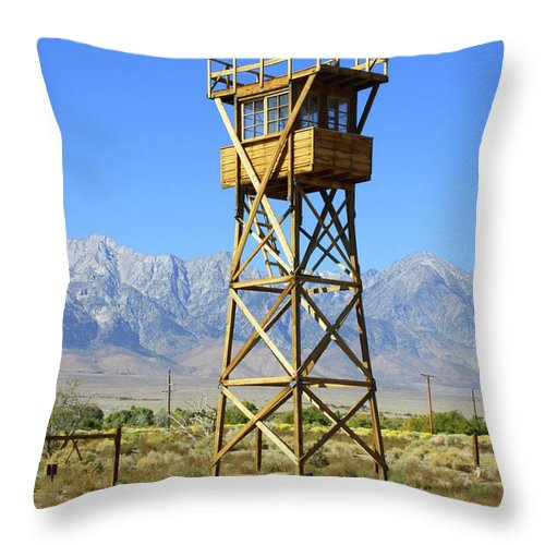 California Throw Pillow featuring the photograph Manzanar A Blight On America 2 by Tommy Anderson