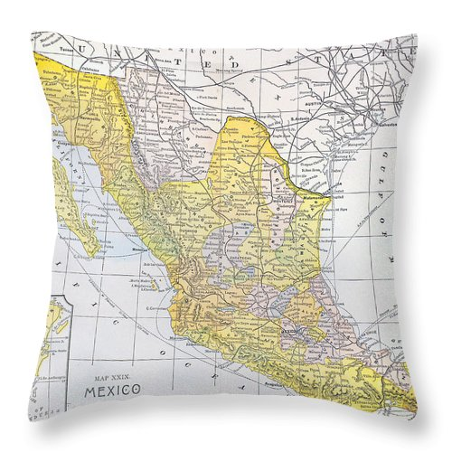 1900 Throw Pillow featuring the photograph Map: Mexico by Granger