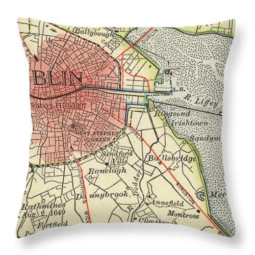 Dublin Throw Pillow featuring the drawing Map Of Dublin by Irish School