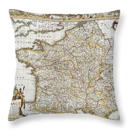 1627 Throw Pillow featuring the photograph Map Of France, 1627 by Granger