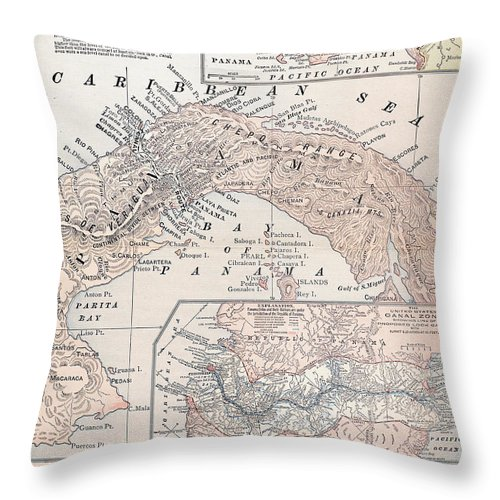 1907 Throw Pillow featuring the photograph Map: Panama, 1907 by Granger