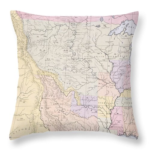 Map Throw Pillow featuring the painting Map Showing The Localities Of The Indian Tribes Of The Us In 1833 by Thomas L McKenney and James Hall