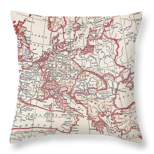 Engraving Throw Pillow featuring the photograph Map: Thirty Years War by Granger
