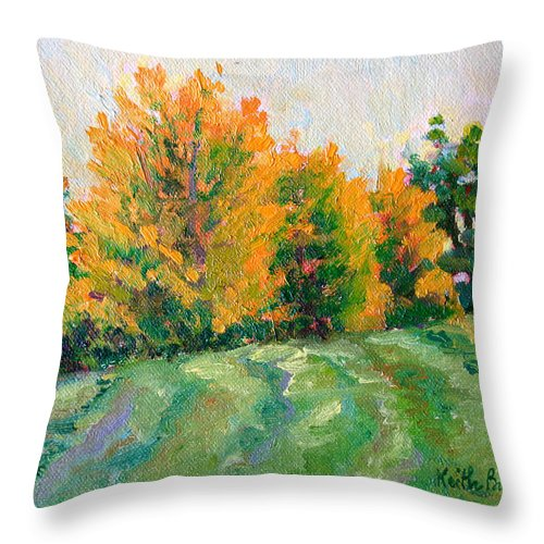 Impressionism Throw Pillow featuring the painting Maple Grove by Keith Burgess