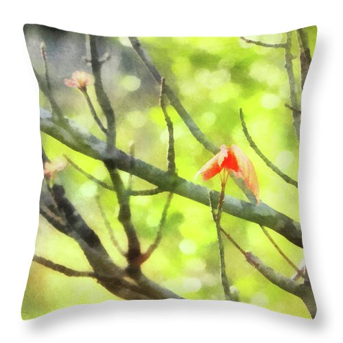 Maple Throw Pillow featuring the digital art Maple Leaves In Spring by Francesa Miller