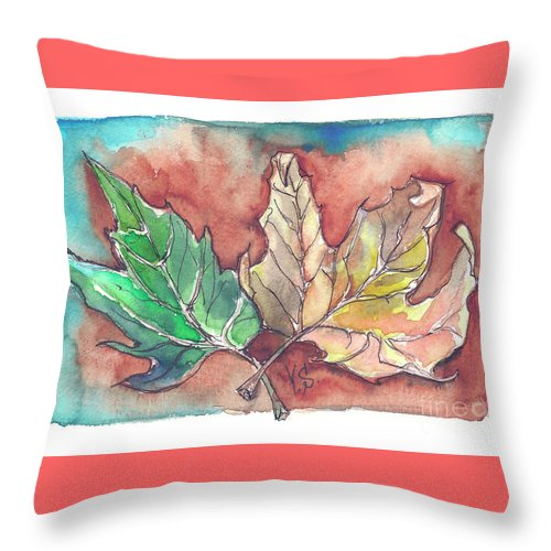 Maple Throw Pillow featuring the painting Maple Leaves by Yana Sadykova