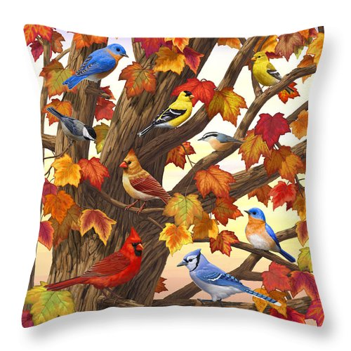 Bird Throw Pillow featuring the painting Maple Tree Marvel - Bird Painting by Crista Forest