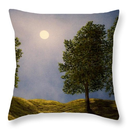 Mountains Throw Pillow featuring the painting Maples In Moonlight by Frank Wilson