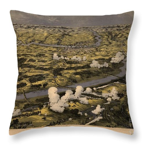 Maps Birds Eye View Of The Seat Of War Around Richmond Showing The Battle Of Chickahominy River Throw Pillow featuring the painting Maps Birds Eye View Of The Seat Of War Around Richmond Showing The Battle Of Chickahominy River by MotionAge Designs