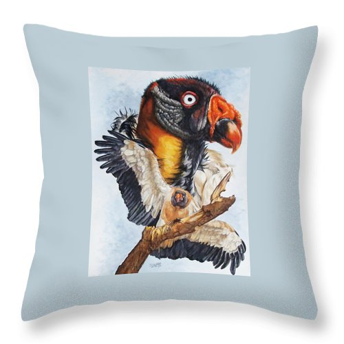 Vulture Throw Pillow featuring the mixed media Marauder by Barbara Keith