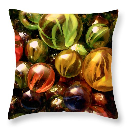 Marbles Abstract Throw Pillow featuring the digital art Marble Madness by P Donovan