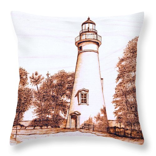 Lighthouse Throw Pillow featuring the pyrography Marblehead Lighthouse by Danette Smith