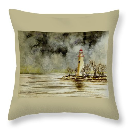 Lighthouse Throw Pillow featuring the painting Marblehead Lighthouse In The Winter by Michael Vigliotti