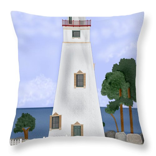 Marblehead Ohio Lighthouse Throw Pillow featuring the painting Marblehead Ohio by Anne Norskog