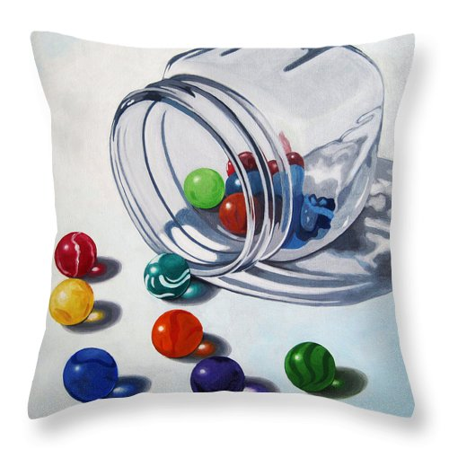 Marbles Throw Pillow featuring the painting Marbles and Glass Jar still life painting by Linda Apple