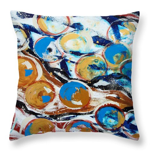 Marbles Throw Pillow featuring the painting Marbles Of Life by Gina De Gorna