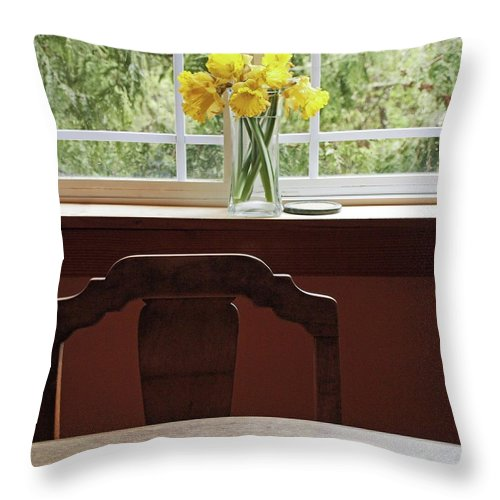 Flowers Daffodils Throw Pillow featuring the photograph March by Laurie Stewart