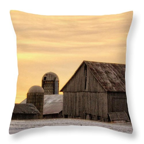 March Throw Pillow featuring the photograph March Sunrise On The Farm by Peg Runyan