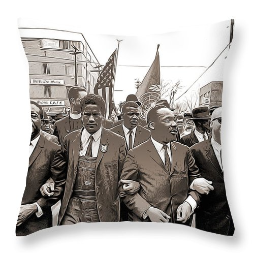 Mlk Throw Pillow featuring the mixed media March Through Selma by Greg Joens