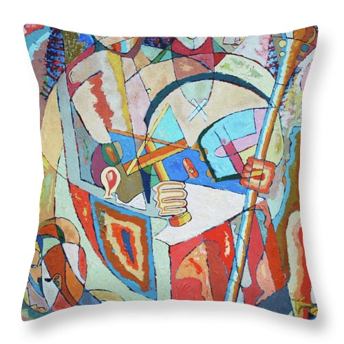 Johnpowellpaintings Throw Pillow featuring the painting Marcus Garvey And Elders by John Powell