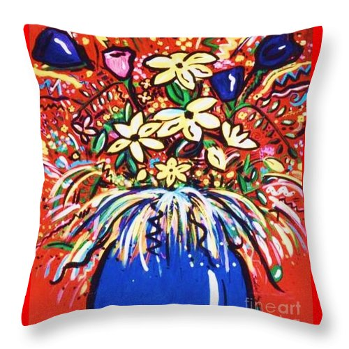 Floral Throw Pillow featuring the painting Mardi Gras Floral Explosion by Sidra Myers