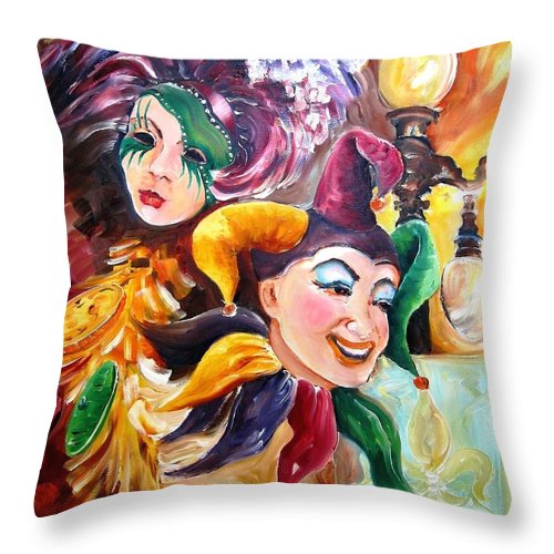 New Orleans Throw Pillow featuring the painting Mardi Gras Images by Diane Millsap