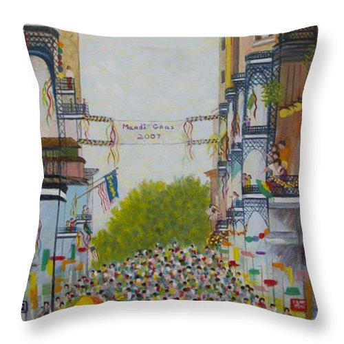 Mardi Gras Throw Pillow featuring the painting Mardi Gras On Bourbon Street by Douglas Ann Slusher