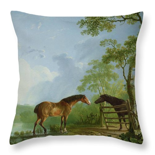 Mare Throw Pillow featuring the painting Mare And Stallion In A Landscape by Sawrey Gilpin