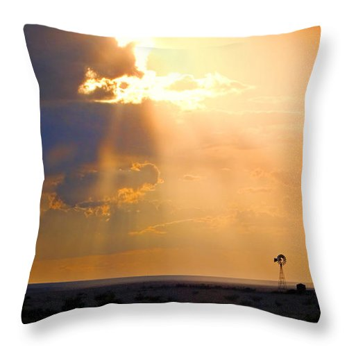 Skip Hunt Throw Pillow featuring the photograph Marfa Windmill 1 by Skip Hunt