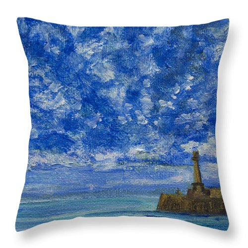 Harbour Throw Pillow featuring the painting Margate Sea And Sky by Wendy Le Ber