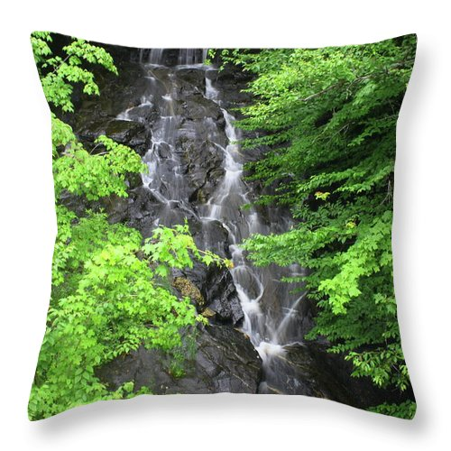 Waterfall Throw Pillow featuring the photograph Margaurite Falls Berkshires by John Burk